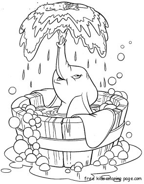 Coloring sheet of Disney Characters Dumbo taking bathFree