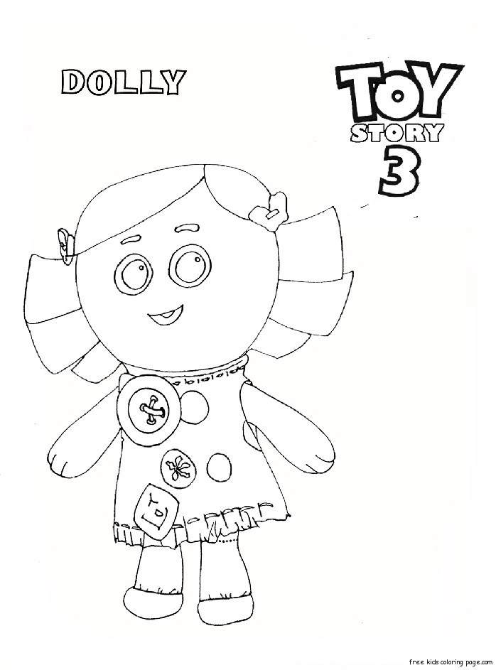 Printable toy story 3 dolly coloring pages for kidsFree