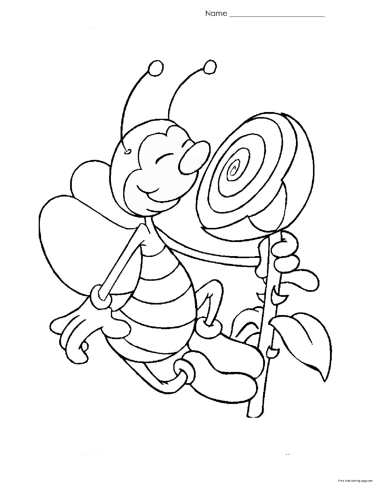 Print out coloring page Bee with flower for kidsFree