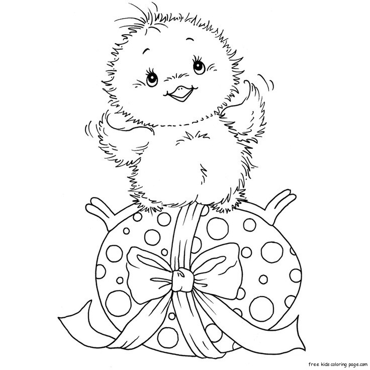 Print out Easter chicken and easter eggs coloring pages