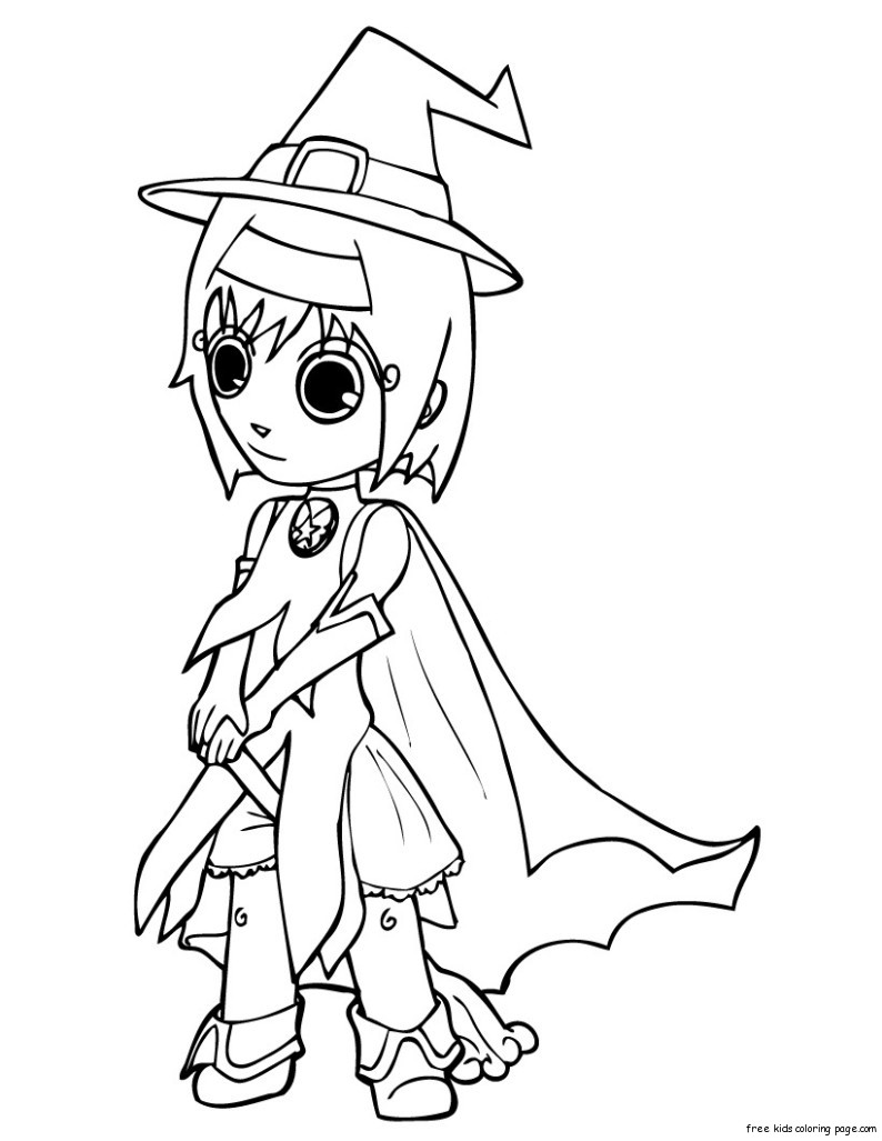 Print out halloween cut girls in witch costumes coloring