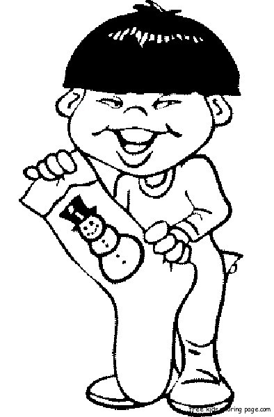 Boy With Christmas Stockings Print out coloring pages ...