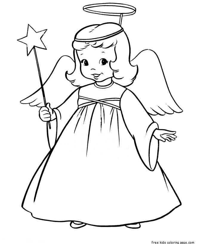Christmas Angel and Star printable coloring pages for