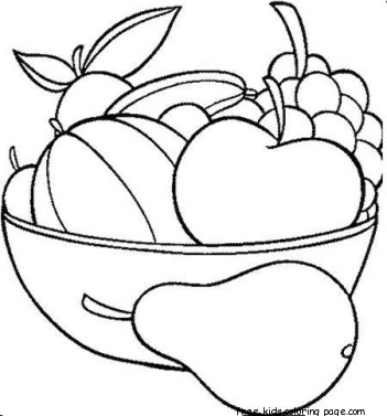 Print out Fruits Pear Watermelon and apple coloring in