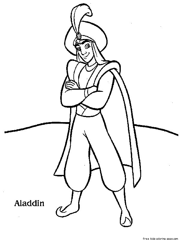 Free Disney Characters Aladdin coloring page for kidsFree