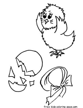 Printable Baby chick hatching coloring page for kidsFree
