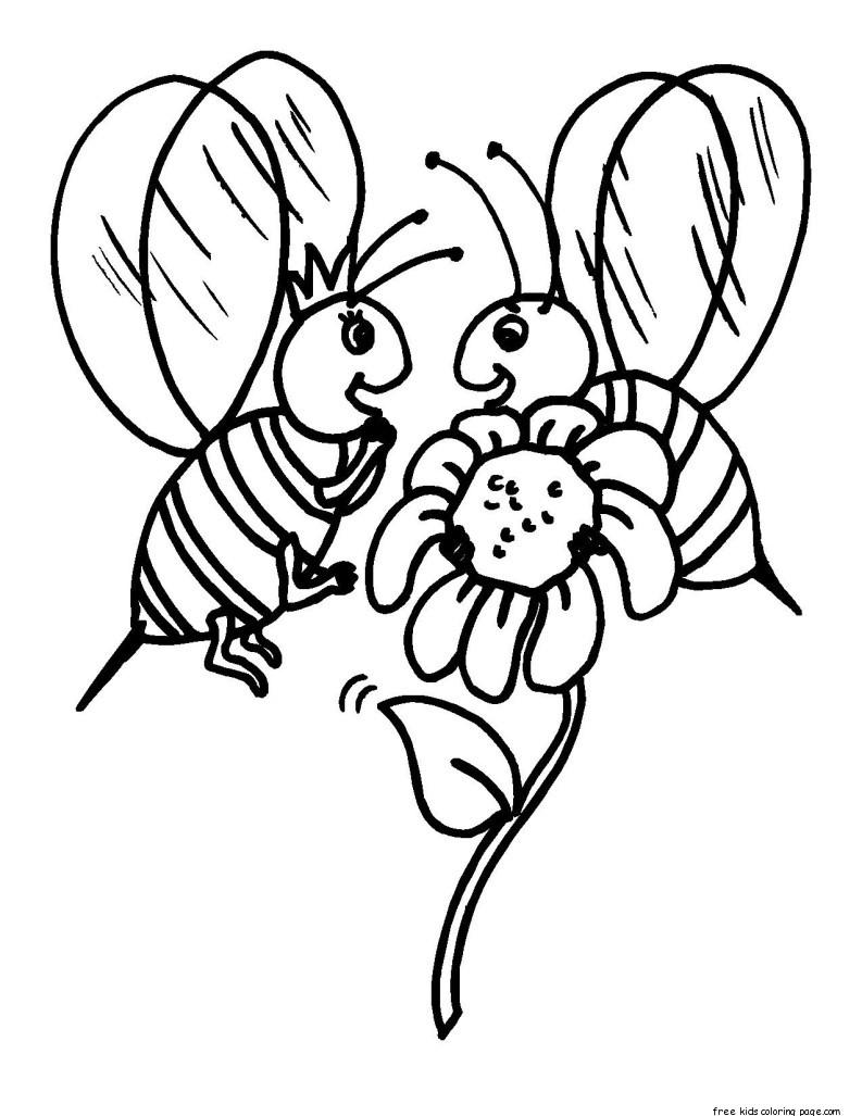 Printable insects bees coloring pages for kidsFree