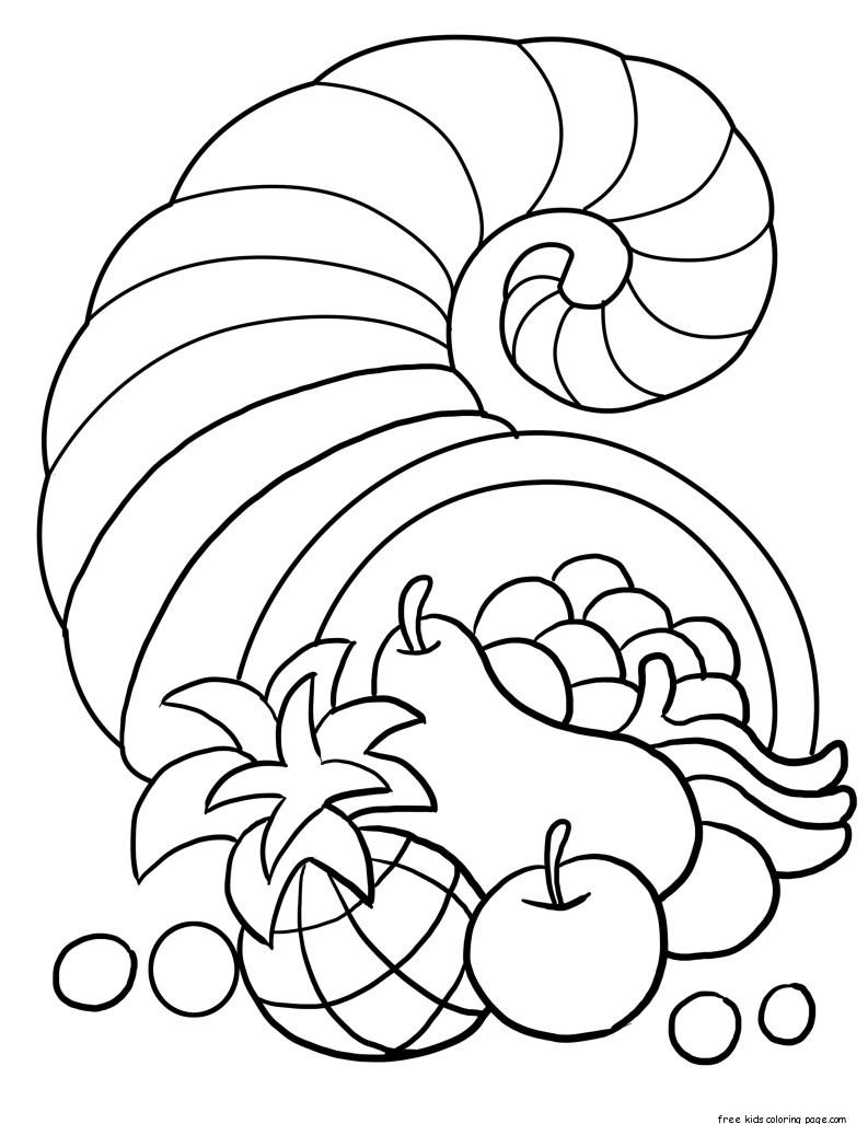 thanksgiving cornucopia coloring sheet for kidsFree