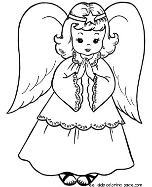 christmas angel colouring pages to printFree Printable