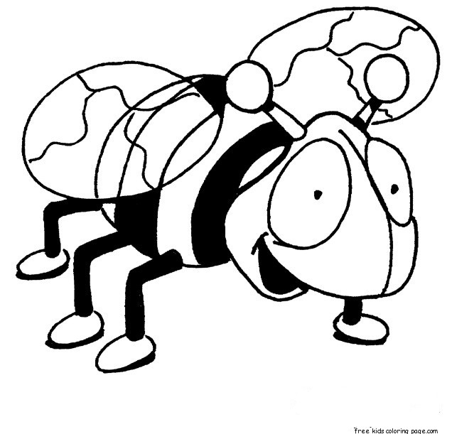 Print out insects Bees coloring pages for kidsFree