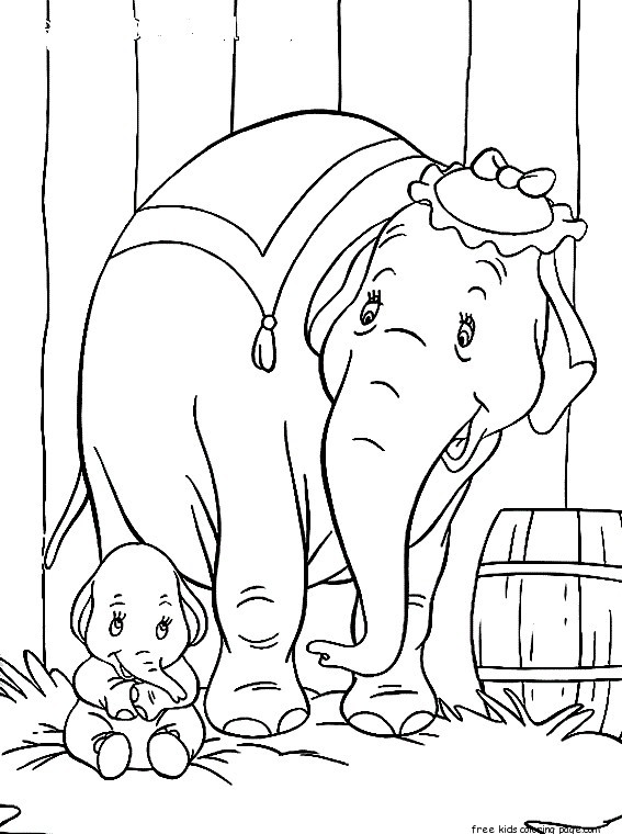 Disney Characters Dumbo With Elephant Matriarch Coloring