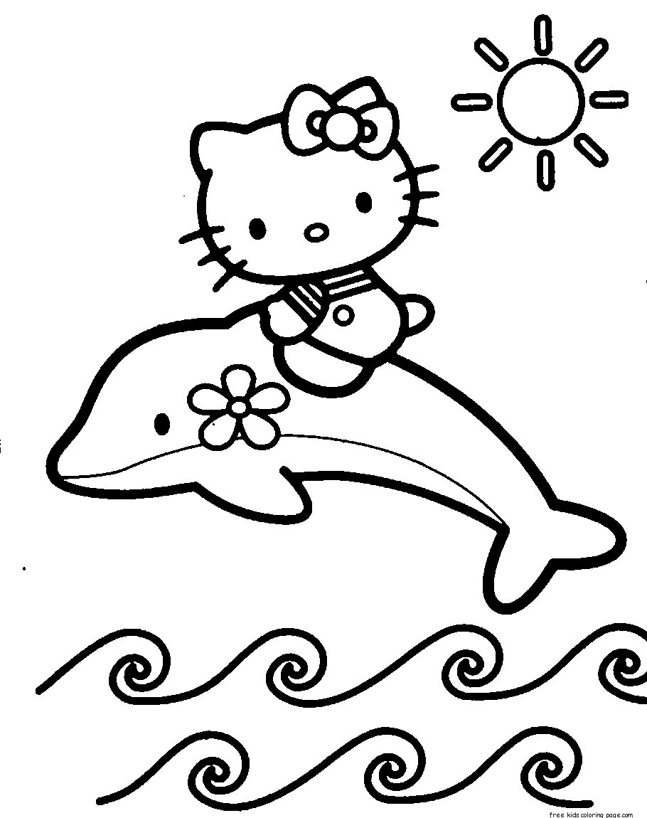 Print Out Coloring Pages Of Dolphin With Hello Kitty For