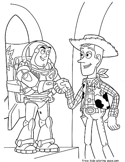 Printable coloring pages Toy story 3 Characters Woody and