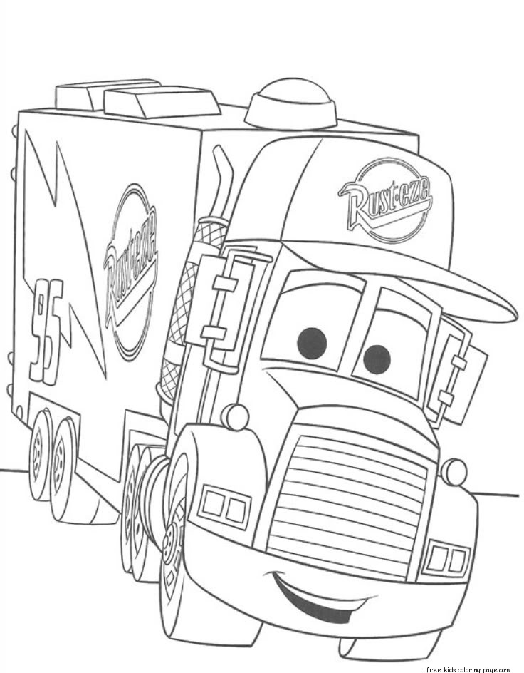 cars 2 mack truck car carrier coloring pages for kidsFree ... | free printable disney cars 2 coloring pages