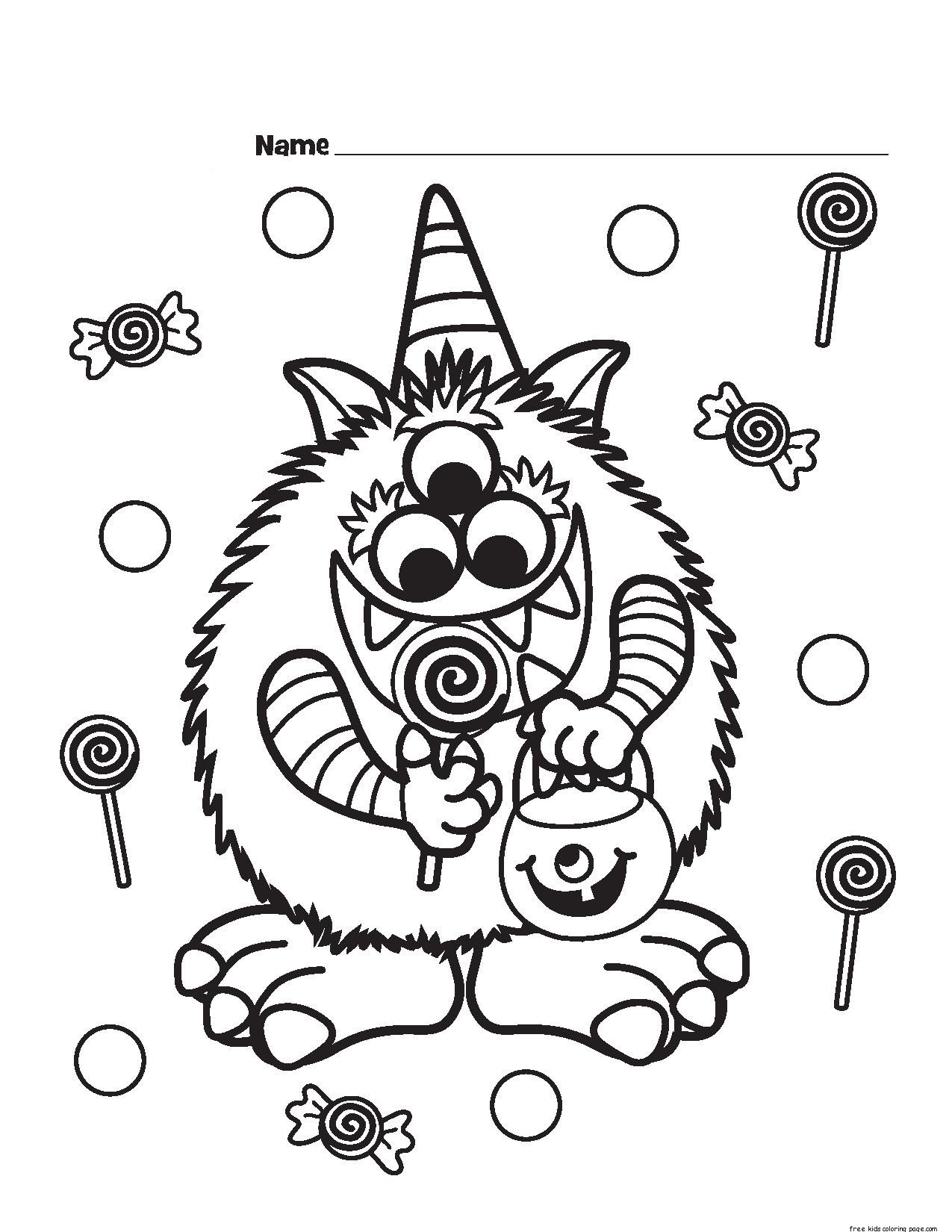 Halloween Candy Critter Printabel Coloring Page Free