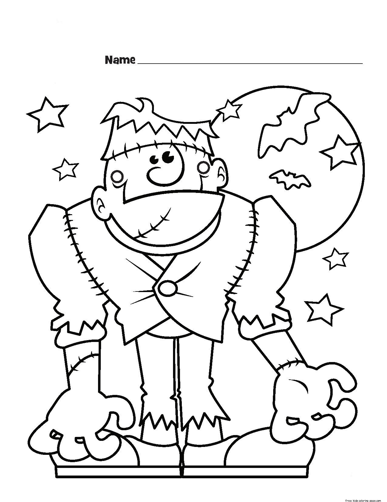 Frankenstein Monster Halloween Coloring Page For Kidsfree