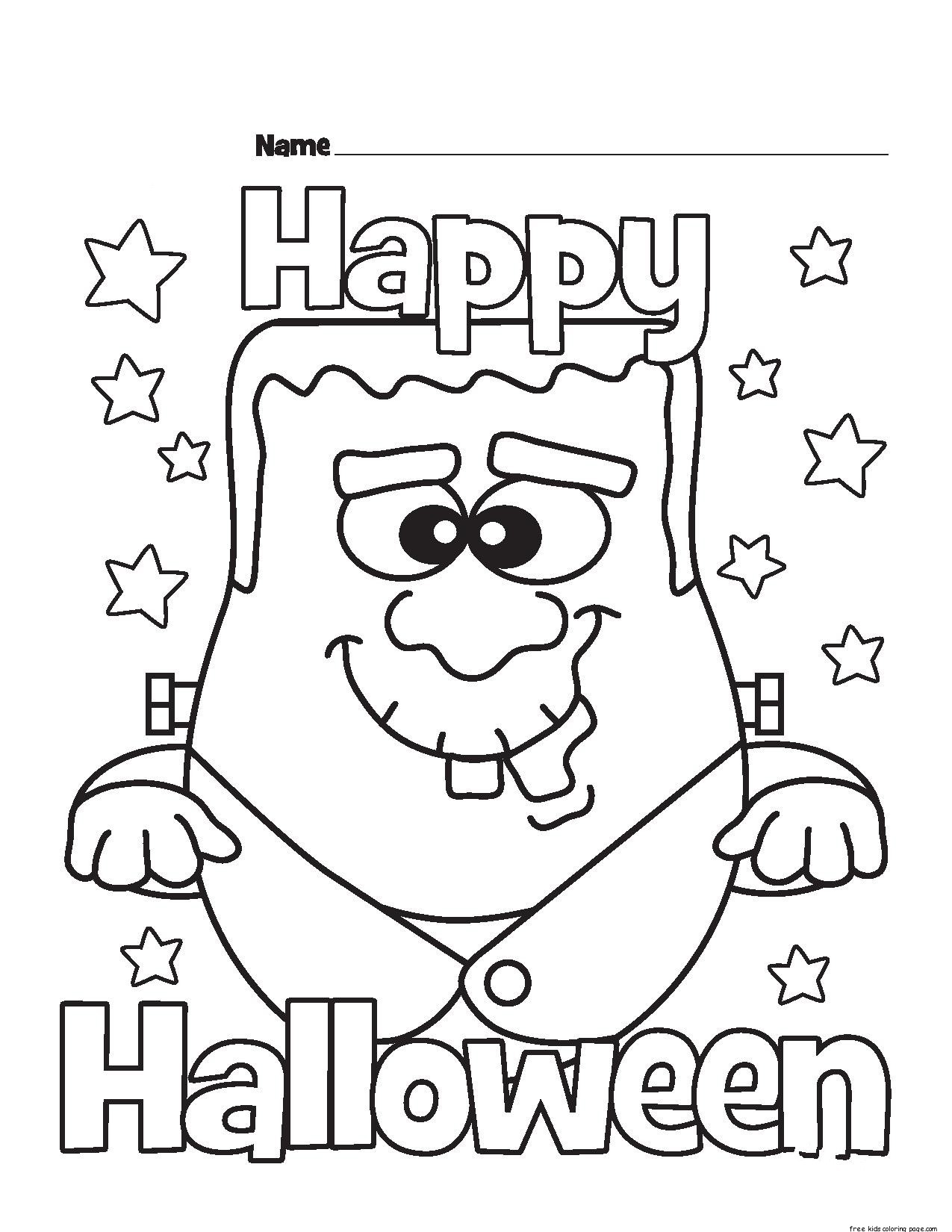 Halloween Happy Monster coloring pages for kidsFree