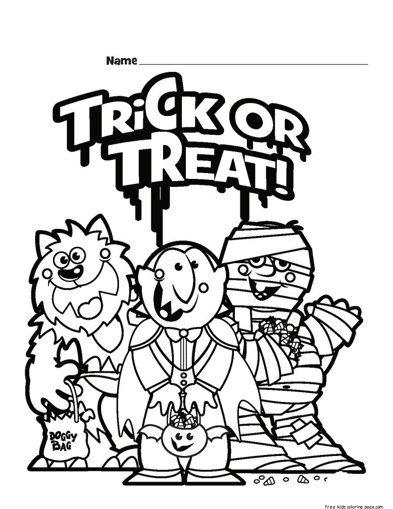 Halloween Trick Or Treat Colouring Pages For KidsFree