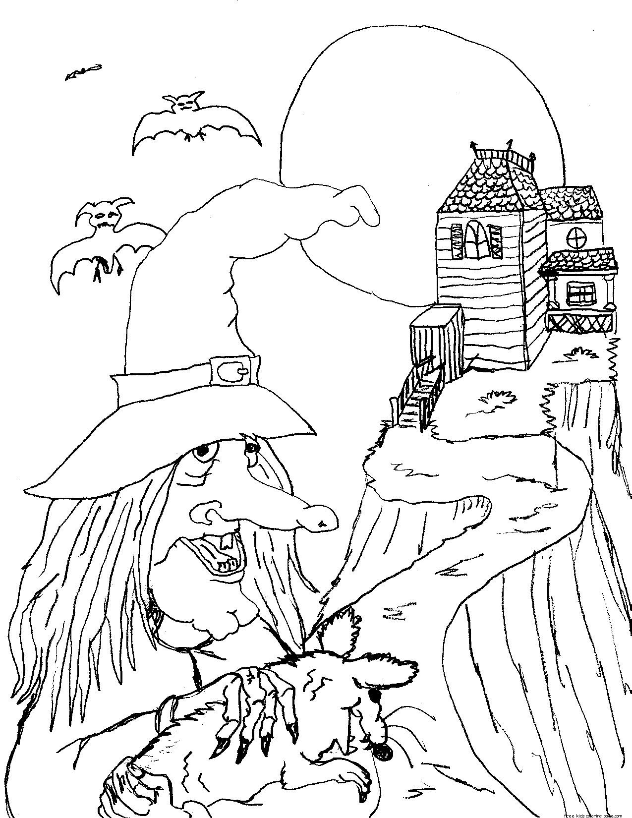 Halloween Witches And Black Cats Coloring Pagefree