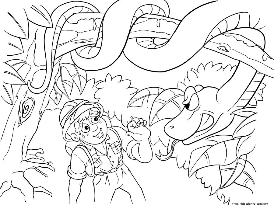 Printable Jungle Snake and boy coloring pages for kidsFree