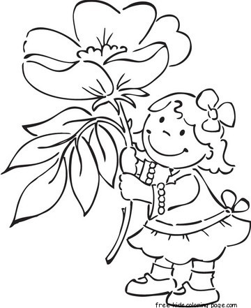 Print out girl with spring flowers Windflower coloring