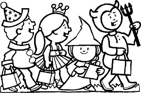 Halloween Costumes Kids Scary Coloring Page For KidsFree