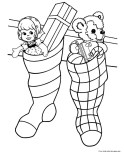 Picture to color christmas stocking toys for kids to print
