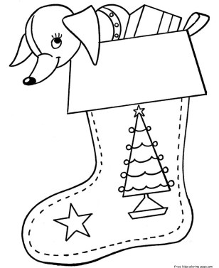Cute christmas stockings gifts coloring pages for kids to print out