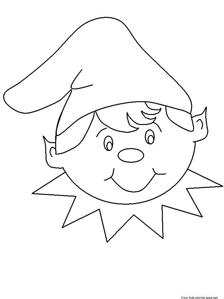 print out christmas elf face cut out coloring pagesFree