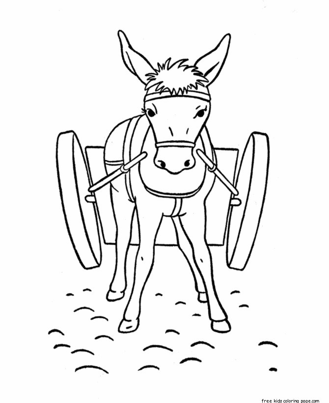 Print Out Animal Donkey Coloring Pages For Kidsfree Printable
