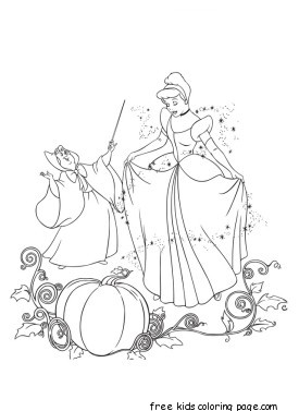Printable cinderella and fairy godmother coloring