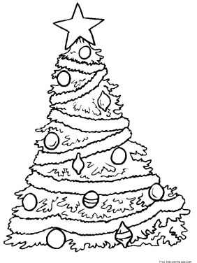 Coloring in sheet christmas tree for kids to print out.