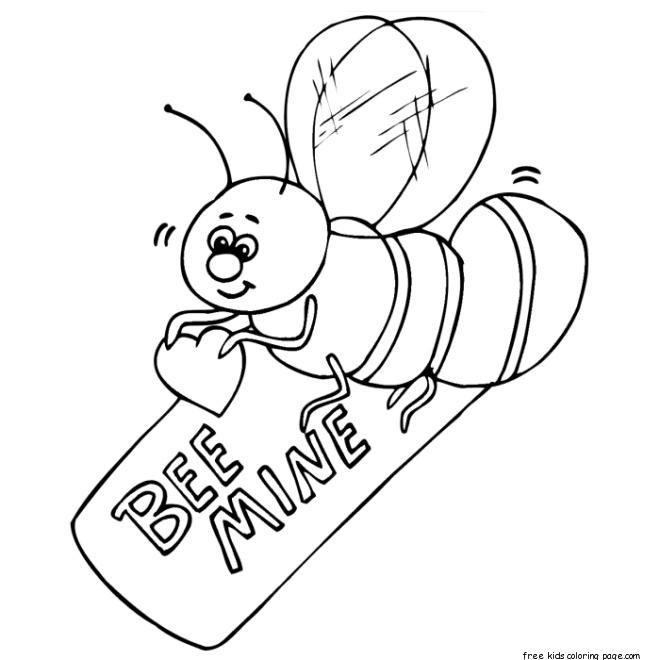Valentines Day Bee holding a be mine heart coloring
