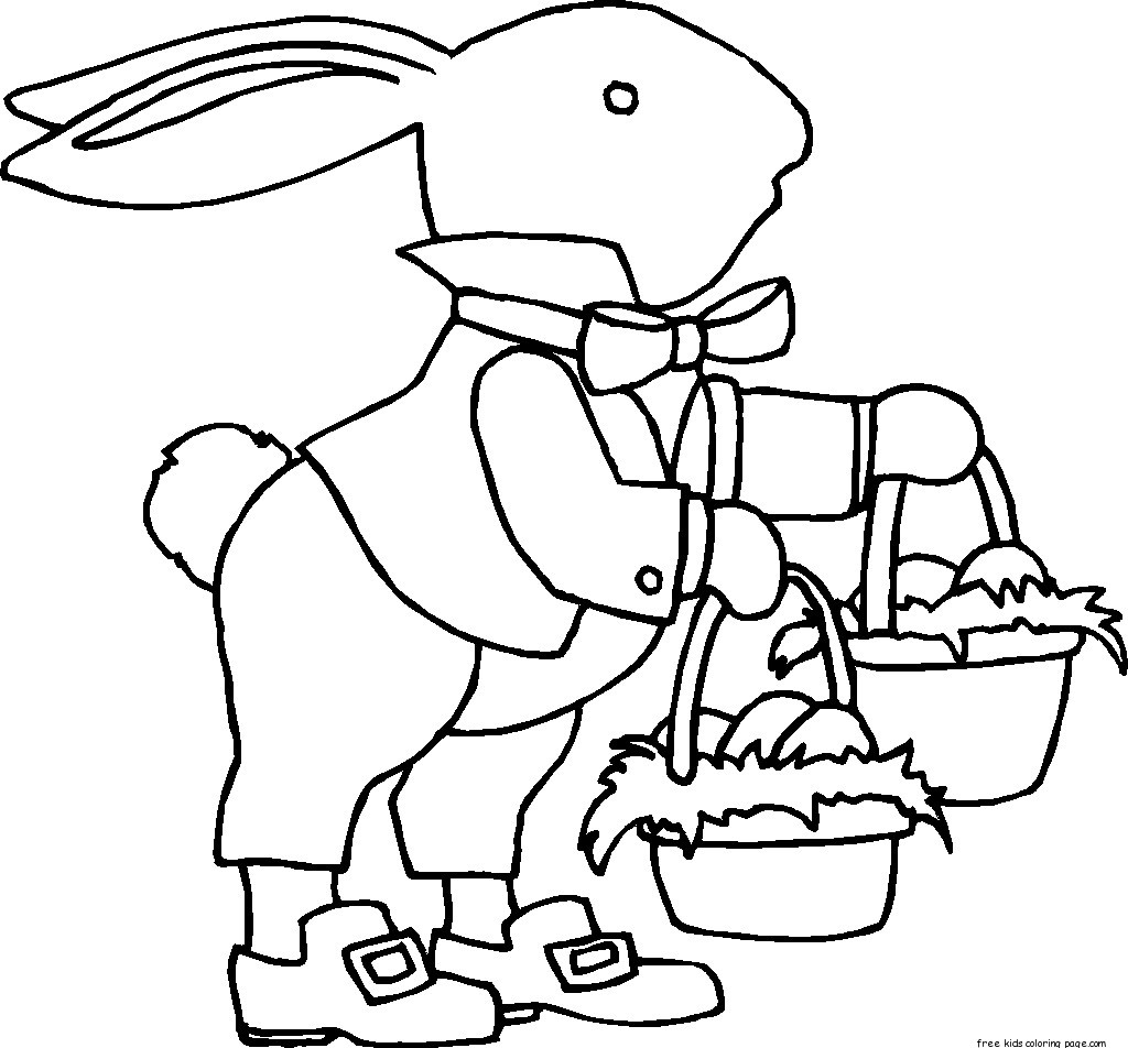 Printable Easter Bunny With Two Baskets Coloring Sheet