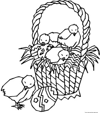Easter chicken eggs picture to color for kids to print out.