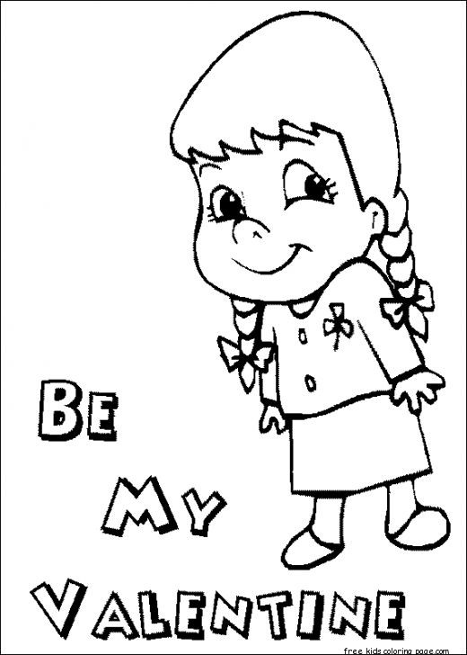 printable will you be my valentine girl coloring pages for