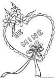 Print out Valentines Day Heart be mine Coloring Pages