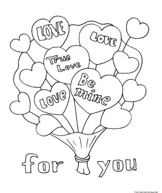 Valentines bouquet flowers coloring pages to print for girls.