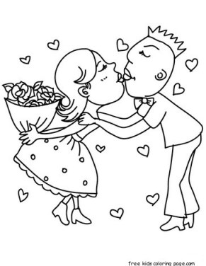 Printable Valentine Couple in love coloring page