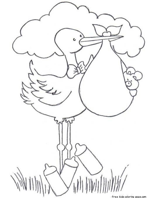 Print out baby diaper stork bundle coloring pages for