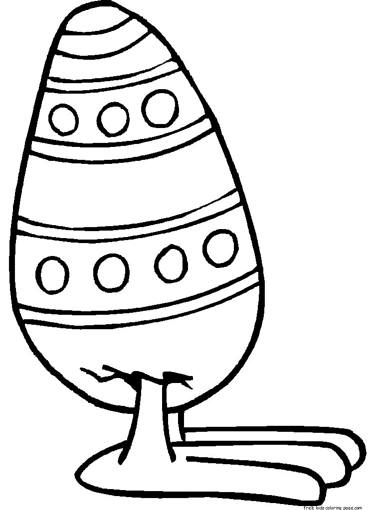 Free Printable Easter Egg With Feet Coloring Page for