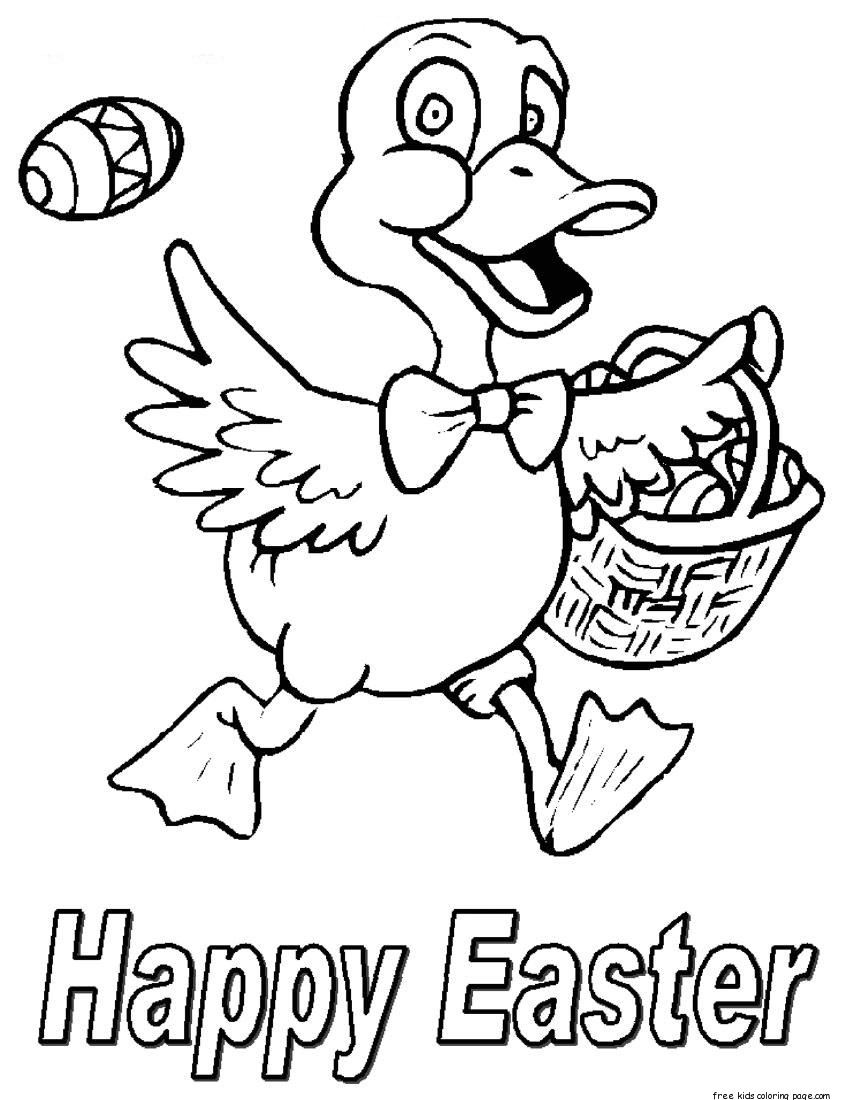 Happy Easter chicken Easter Eggs Coloring Pages for