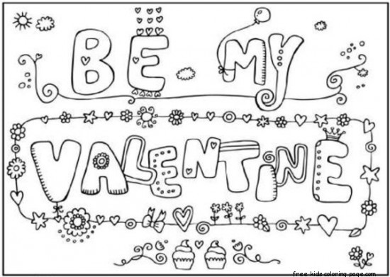 Be my valentine cards printable coloring pages for