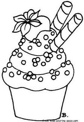 Printable cupcake coloring page preschoolFree Printable