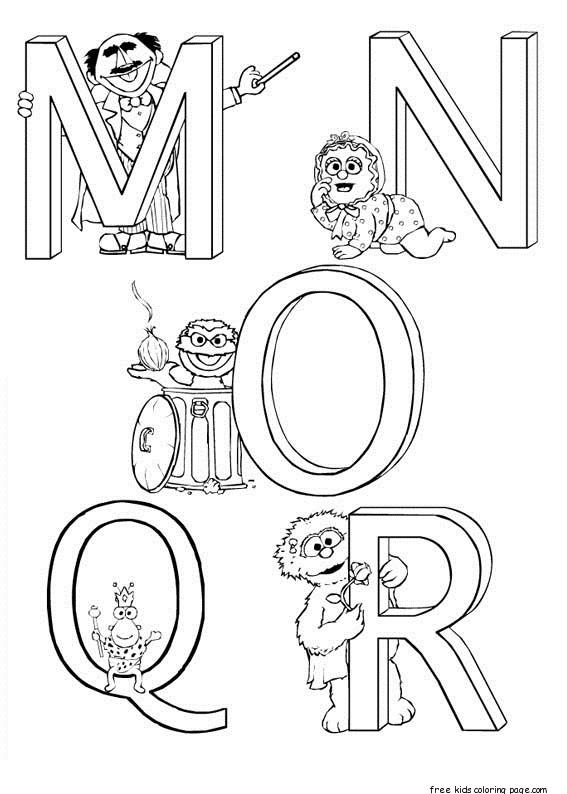 Printable sesame street alphabet worksheets for kidsFree