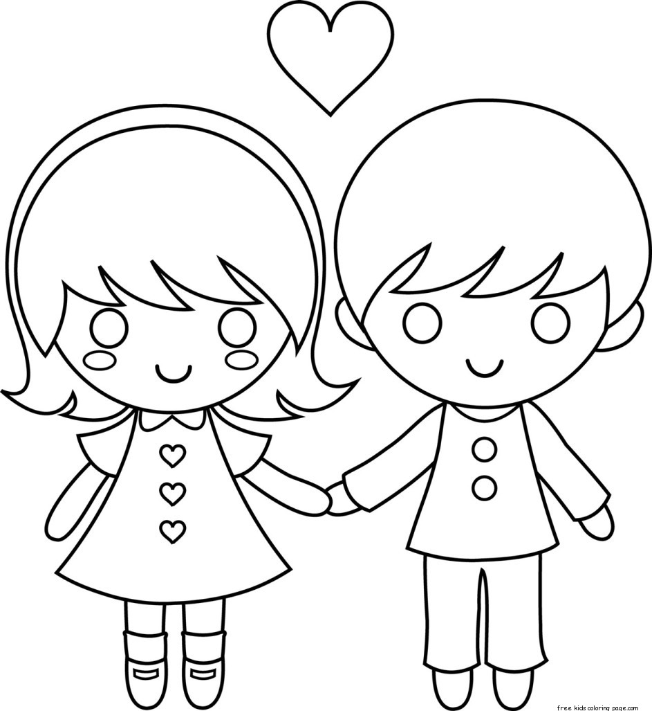 Printable couple valentine day coloring pages for kidsFree Printable Coloring Pages For Kids.