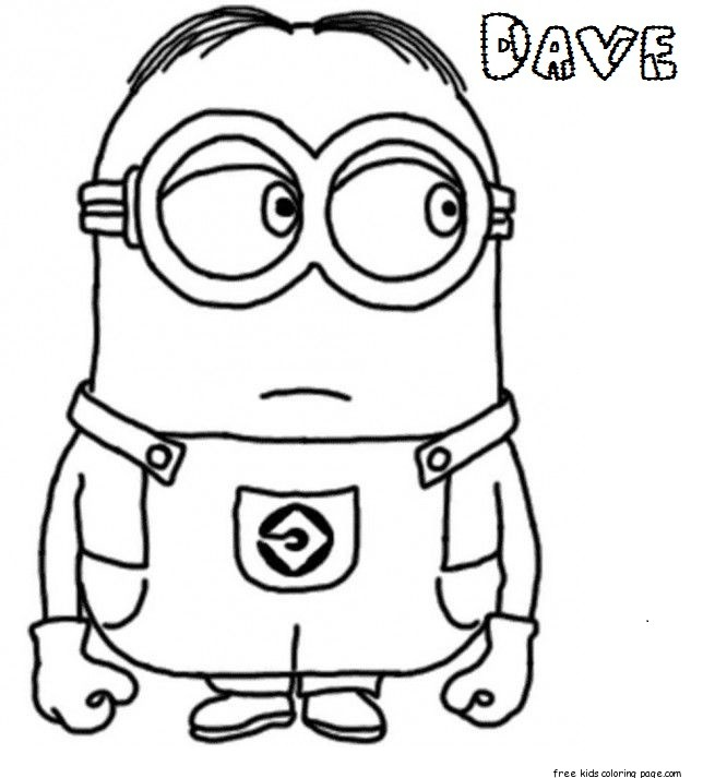 Print out Dave The Minion Despicable Me 2 Coloring