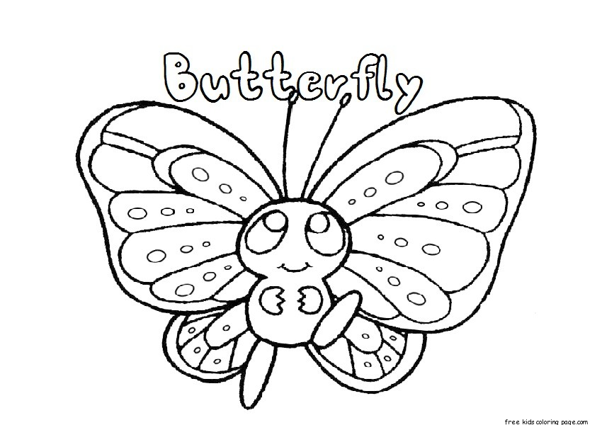 Printable preschool butterfly coloring pagesFree Printable