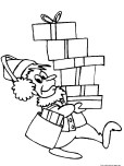 coloring page of christmas elf gifts for kids