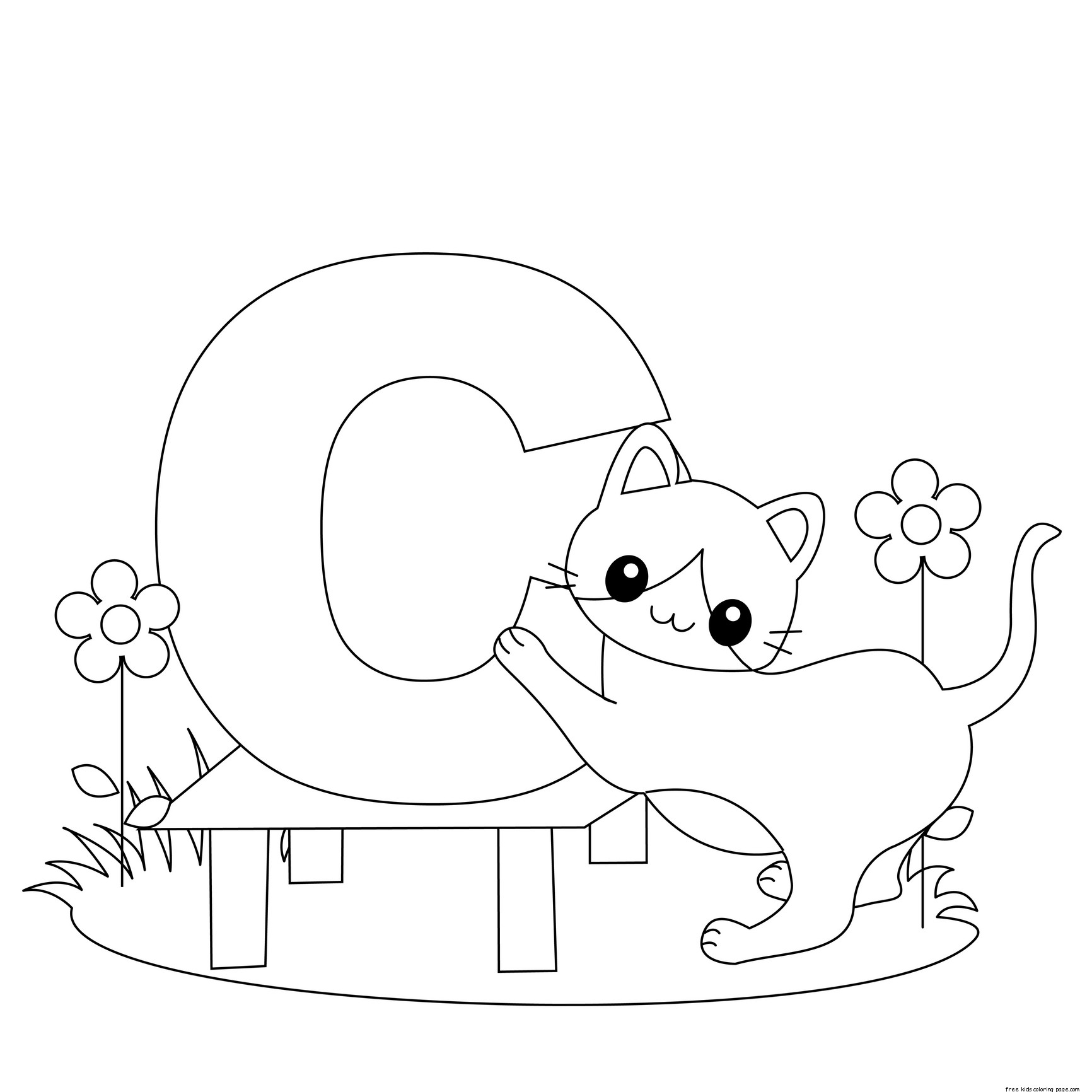 Printable Animal Alphabet Letter C For Cat